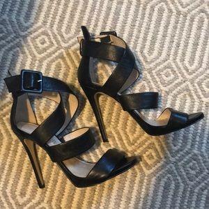 ALDO Black Leather Strappy Heels